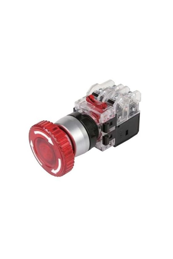 Boton de hongo  iluminiado de emergencia con traba rojo 22mm 1NA+1NC LED 12-24 vcd-vca15.61