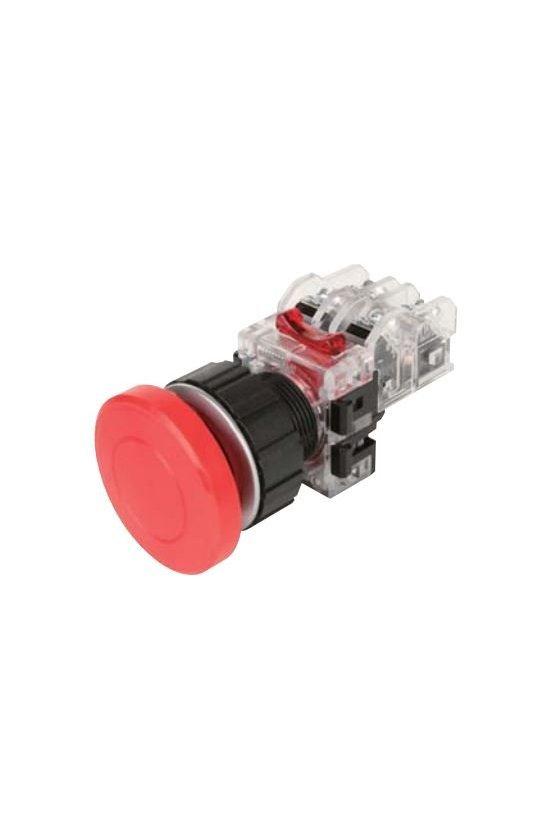 Boton hongo emergencia momentaneo rojo en aluminio 30mm 1NA+1NC