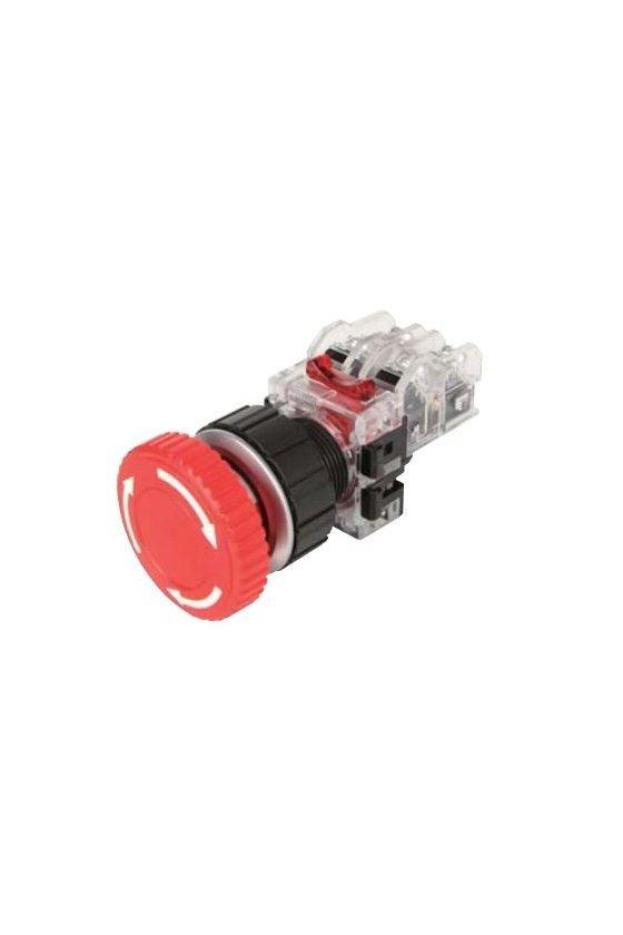 Botón de hongo emergencia con traba rojo en aluminio 30mm 1NA+1NC