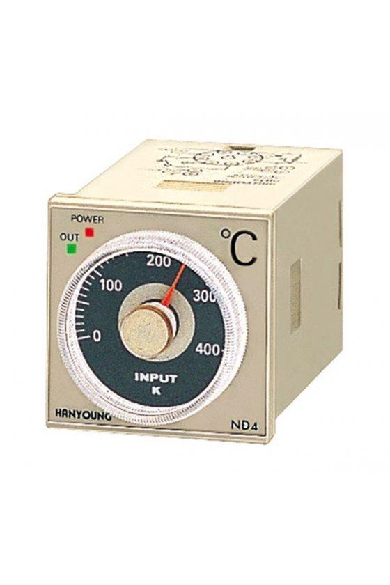 ND4FJMR07T Control de temperatura analógico  0-400º  48x48 mm entrada tipo J  salida a Relay  alim 2