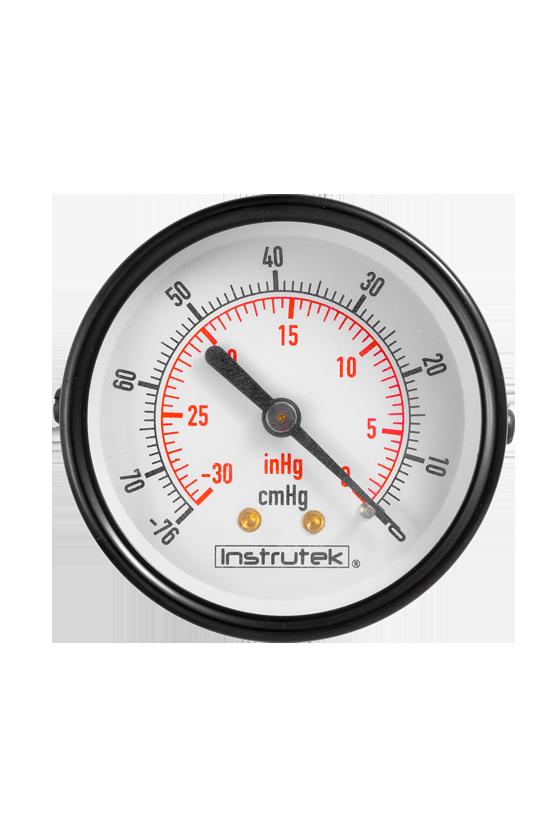 """6311030VAC Vacuómetro seco caja de acero pintado en negro de 2.5 in CNX de 1/4"""" NPT POST ventana de PC. (-30 inHg VAC)"""