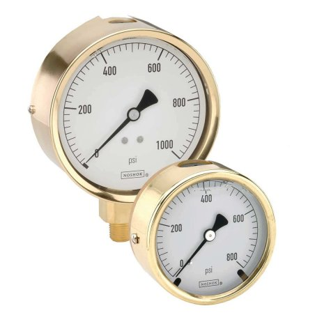 "4030015 Manómetro 4"" cuerpo de bronce 1/4"" NPT inferior 15 psi"