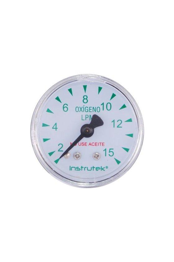 """4065115 Manómetro seco con carátula de 1.5"""" caja cromada ventana de PC. CNX POST 1/8"""" NPT. (15 lpm)"""