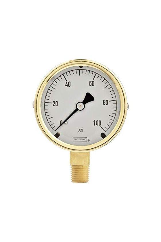 """403101000PSIBAR Manómetro 4"""" cuerpo de bronce 1/4"""" NPT posterior 1000 psi-bar"""