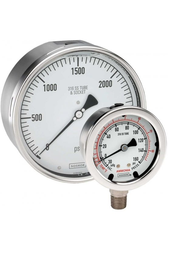 "404102000 Manómetro 4"" acero inoxidable 1/2"" NPT posterior 2000 psi"