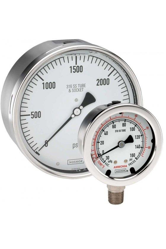 "6041030VAC300PSIKG Manvacuómetro 6"" acero inoxidable 1/2"" NPT posterior 30 Vac inHg 300 psi-kg/cm2"