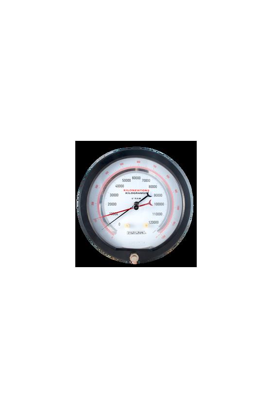 """TG20020 Manómetro seco con carátula de 8"""" CNX a proceso de 1/4"""" NPT POST Bourdón de berilio tons-kgf exac. de 0.5%.(20 Tons)"""