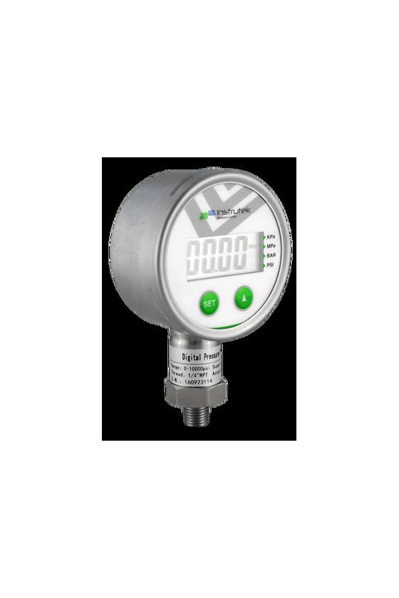 """80D500100 Manómetro dig. caja de acero inox. 316 CNX 1/4"""" NPT INF LCD bar/psi/Mpa/kpa exac. de 0.5%. Bat. de litio 3V.(100 psi)"""