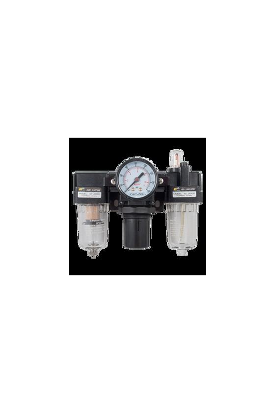 """AC200002  Unidad de Mant. - FRL´s baja presión Filtro-Regu-Lubri de aire de 1/4"""" NPT CNX de man. 1/8"""".Rango de reg. 7 a 123 Psi."""