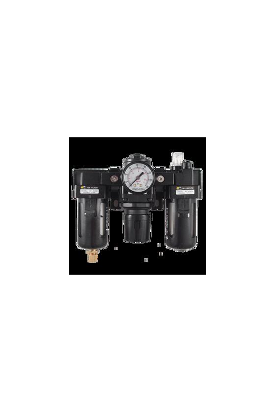 """AC300003  Unidad de Mant. - FRL´s baja presión Filtro-Regu-Lubri de aire de 3/8"""" NPT CNX de man. 1/8"""".Rango de reg. 7 a 123 Psi."""