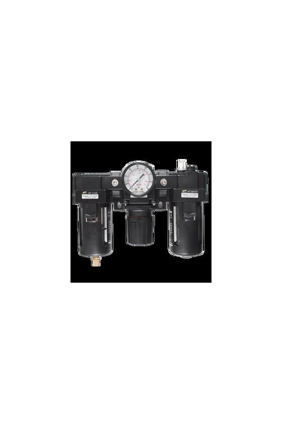 """AC400004  Unidad de Mant. - FRL´s baja presión Filtro-Regu-Lubri de aire de 1/2"""" NPT CNX de man. 1/4"""".Rango de reg. 7 a 123 Psi."""