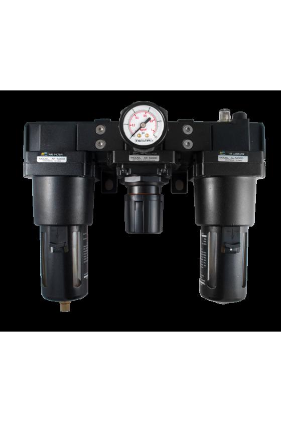 """AC500010  Unidad de Mant. - FRL´s baja presión Filtro-Regu-Lubri de aire de 1"""" NPT CNX de man. 1/4"""". Rango de reg. 7 a 123 Psi."""