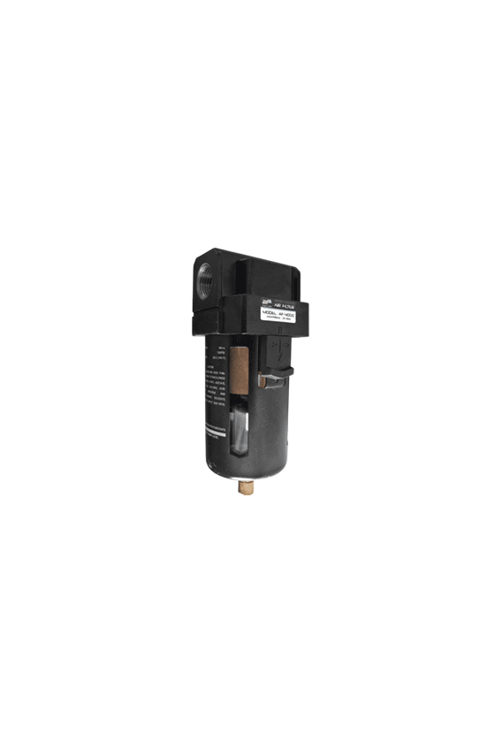 "AF400004D Filtro de aire baja presión de 1/2"" NPT hasta 145 psi filtrado de 25 um.  temp. de 5 a 60 °C 750 lt/min. con dren aut."