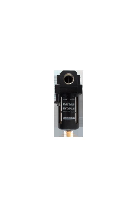 """AF400006 Filtro de aire baja presión de 1/2"""" NPT hasta 145 psi filtrado de 25 um.  temp. de 5 a 60 °C 750 lt/min."""