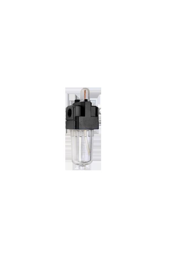 """AL200002 Lubricador de aire baja presión con CNX de 1/4""""NPT vaso de PC. capacidad de 25 cm3 MAWP hasta 145 psi 800 l/min."""