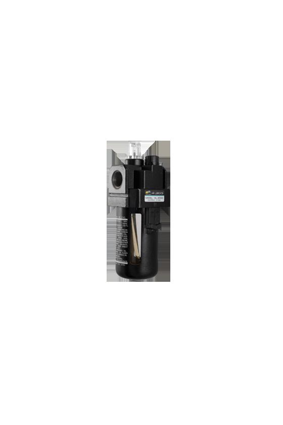"""AL300003 Lubricador de aire baja presión con CNX de 3/8""""NPT vaso de PC. capacidad de 25 cm3 MAWP hasta 145 psi 800 l/min."""