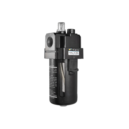 """AL400004 Lubricador de aire baja presión con CNX de 1/2""""NPT vaso de PC. capacidad de 25 cm3 MAWP hasta 145 psi 800 l/min."""