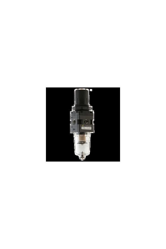 "AW200002 Filtro-regulador de aire baja presión de 1/4"" NPT vaso de PC. precisión de filtrado 25 micrómetro 550 l/min"