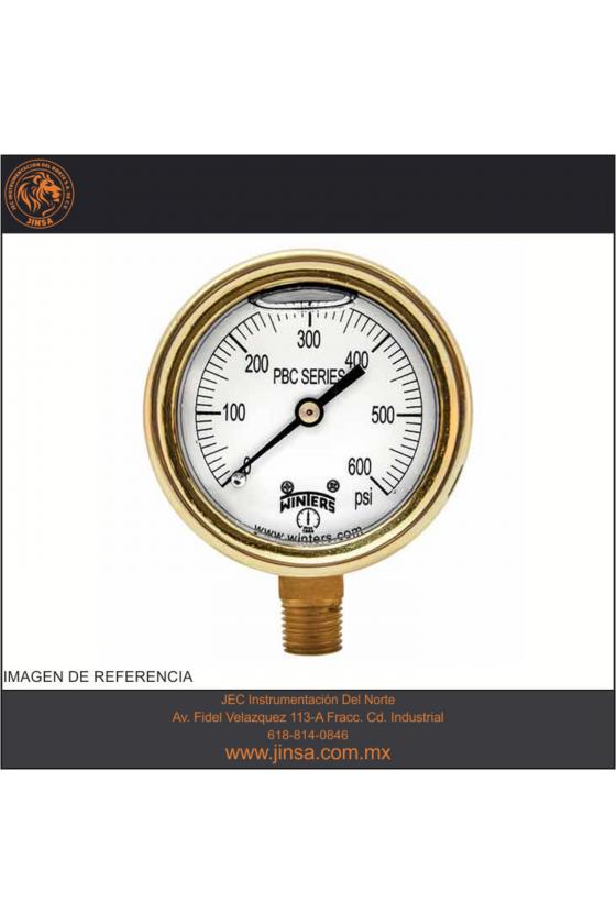 """PBC806R1 MANOMETRO LATON FORJADO DE PRECION CARATULA DE 2.5"""" MONTADO CONECCION INFERIOR 1/4"""" NPT"""