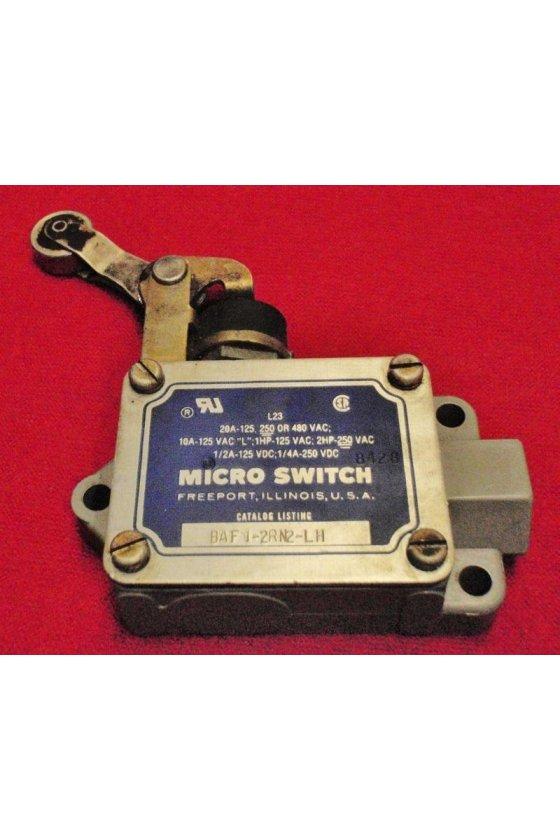 BAF1-2RN2-LH Interruptor en caja de alta capacidad, Series BAF/DTF MICRO SWITCH, Actuador de brazo con rodillo superior