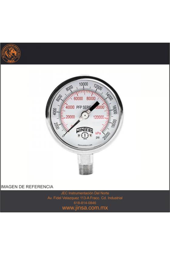 """PFP880 MANOMETRO INOXIDABLE DE PRESION CARATULA DE 2.5"""" MONTADO CONEXION INFERIOR 1/4"""" NPT"""