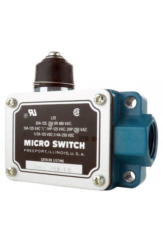 BAF1-2RN-LH Interruptor en caja de alta capacidad, Series BAF/DTF MICRO SWITCH, Actuador con botón superior