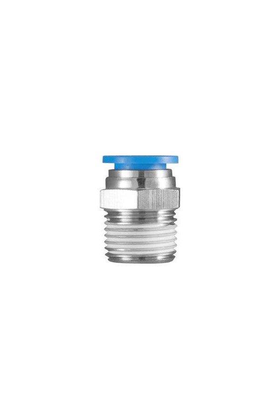 """PC18N4MM Unión recta modelo PC con CNX neumática y macho rango de presión de trabajo 0-150 psi. Conector recto  (1/8""""- 4 MM)"""