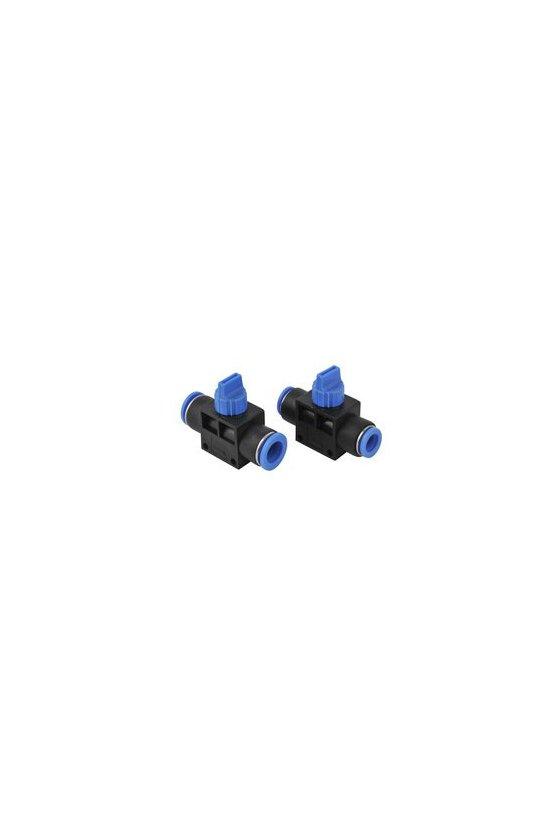 HVFF6MM Válvula de mano modelo HVFF con entrada y salida para manguera, 0-150 psi rango de temp. de trabajo 0-60 °C. (6 MM)