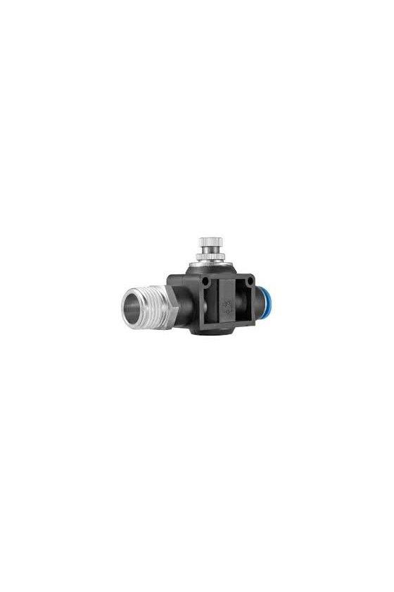"""NSFFS14N6MM Regulador de flujo con entrada macho de NPT con salida para manguera rango de presión de 0-150 psi. (1/4-6MM"""")"""