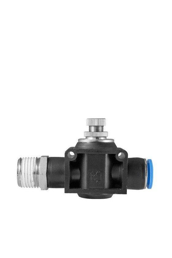 """NSFFS14N8MM Regulador de flujo con entrada macho de NPT con salida para manguera rango de presión de 0-150 psi. (1/4-8MM"""")"""