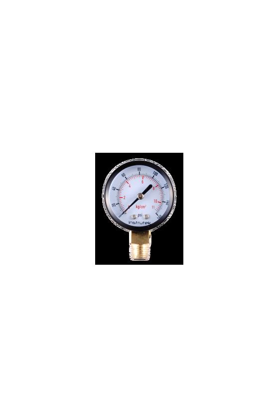 51100COM160  Manómetro de 2 pulgadas  ventana de vidrio  caja de acero  conexión de bronce 1/4, rango de 0 a 160 psi