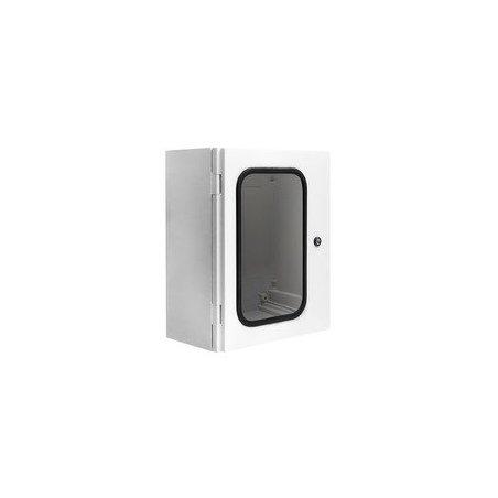 "UCPT640 Gabinete ""Uniplast"" poliéster ref. c/fibra de vidrio 600x400x230mm pta. trans. IP66/NEMA 4 RAL7035"