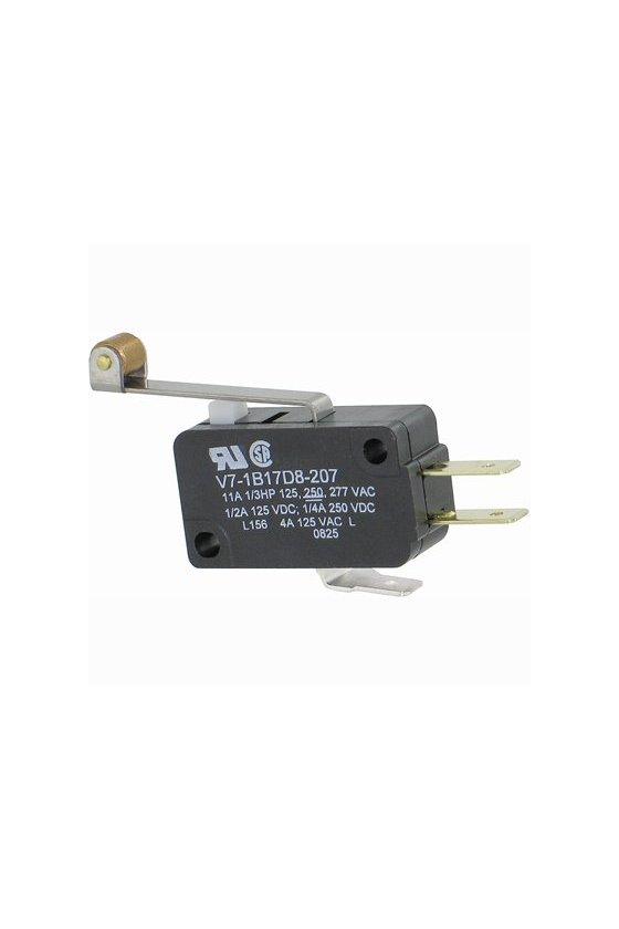 V7-1B17D8-207 Interruptor básico miniatura Serie V7 MICRO SWITCH, Circuito de un polo doble tiro, 11 A a 277 VCA