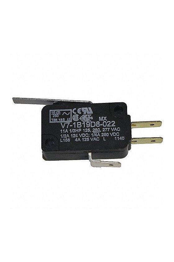 V7-1B19D8-022 Interruptor básico miniatura Serie V7 MICRO SWITCH, Circuito de un polo doble tiro, 11 A a 277 VCA