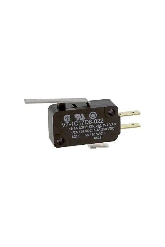 V7-1C17D8-022 Interruptor básico miniatura Serie V7 MICRO SWITCH, Circuito de un polo doble tiro, 11 A a 277 VCA