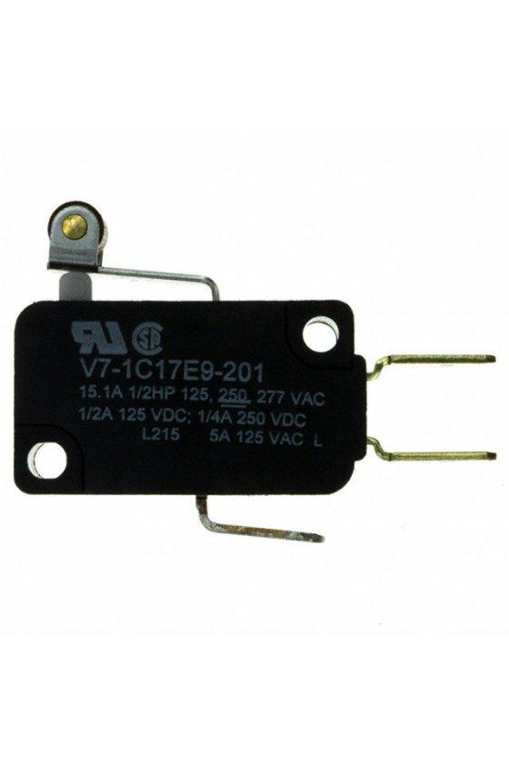 V7-1C17E9-201 Interruptor básico miniatura Serie V7 MICRO SWITCH, Circuito de un polo doble tiro, 11 A a 277 VCA
