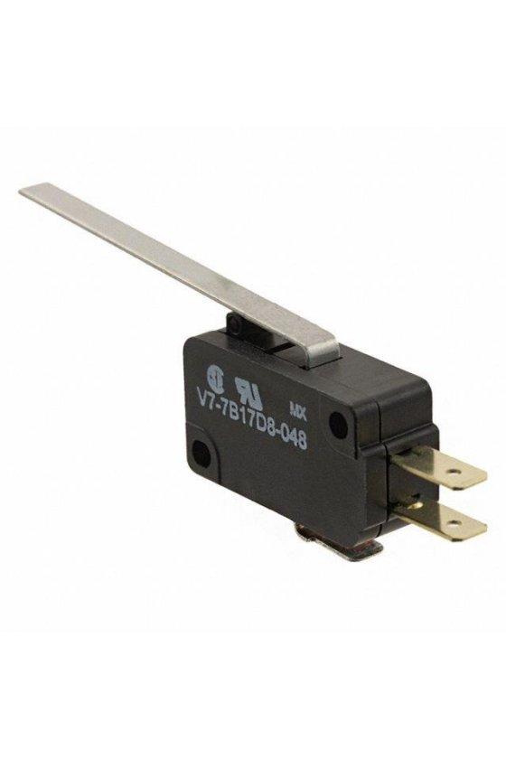 V7-2B19E9-048 Interruptor básico miniatura Serie V7 MICRO SWITCH, Circuito de un polo doble tiro, 11 A a 277 VCA
