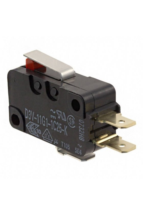 V7-6C18D8-002 Interruptor básico miniatura Serie V7 MICRO SWITCH, Circuito de un polo doble tiro, 11 A a 277 VCA