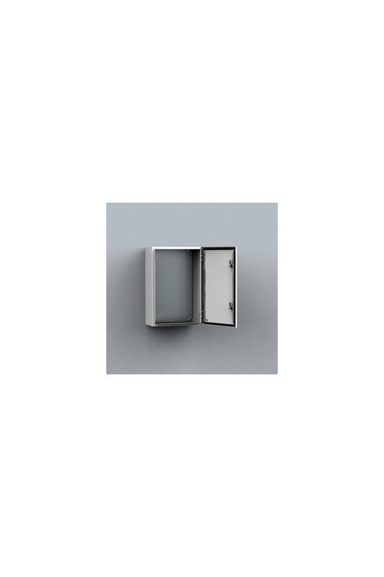 MAS0403015R5 Gabinete fijación mural chapa de acero 400x300x155mm puerta simple IP66/NEMA 4 RAL7035