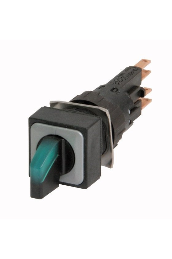 72324 Actuador de interruptor selector iluminado, momentáneo, 45 ° 45 °, 18 × 18 mm, 3 posiciones - Q18LWK3-GN