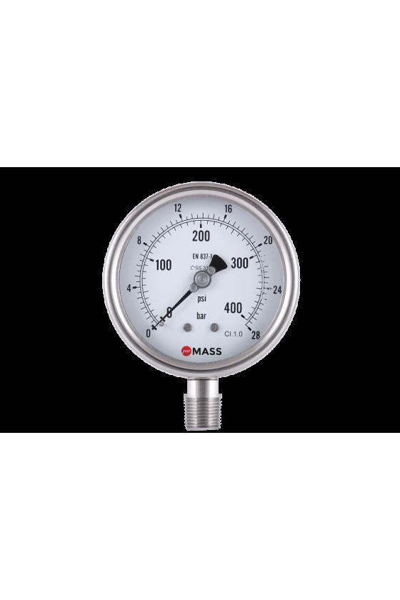 "100-WPS-S-L-02-L-0/28-kg/cm2-GR Manómetro con glicerina Diám. de carátula: 4"" Rango: 0/28 kg CNX.: 1/4"" NPT INF Inox 316"