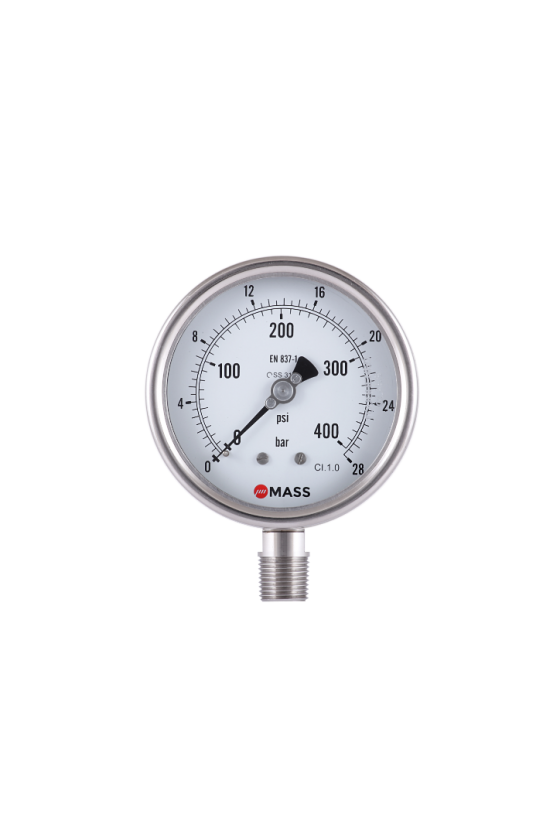 "100-WPS-S-L-04-L-76/0-kg/cm2-GR Manómetro con glicerina Diám. de carátula: 4"" Rango: 76/0 kg CNX.: 1/2"" NPT INF Inox 316"