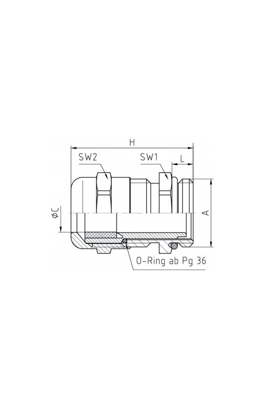 50.036 Conector glándula Pg 36 Metálica IP68