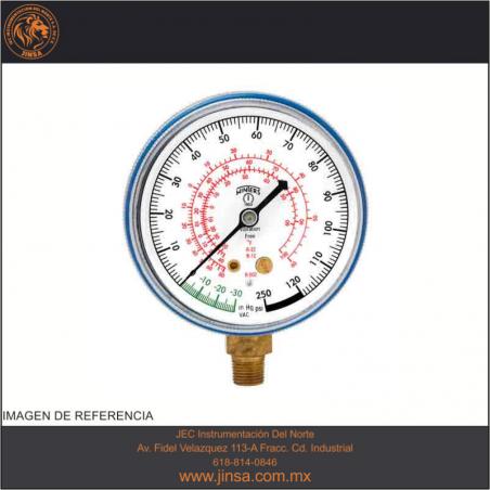 """PFG1731 MANOMETRO MEDIDOR DE REFRIGERACION CARATULA PLASTICO DE 2.5"""" CONECCION INFERIOR 1/8"""" NPT"""