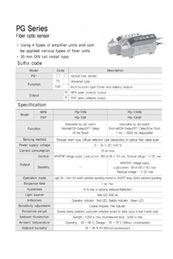 PGTRN Amplificador para fibra óptica tipo universal seleccionable normal on delay-off delay D.O. L.O. NPN  de 12-24vcd