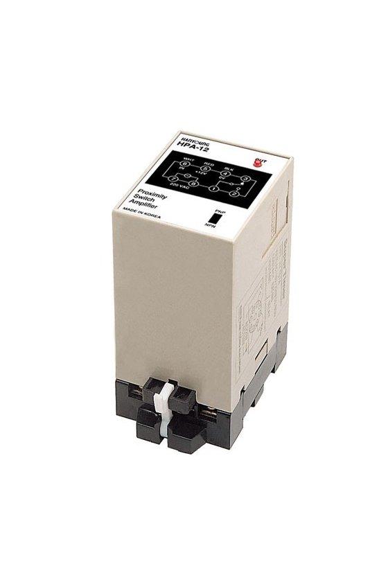 HPA12 Amplificador multiusos de 49x62mm  de 8 pin NPN-PNP  1 salida a relevador con alimentación de 220vca 3amp