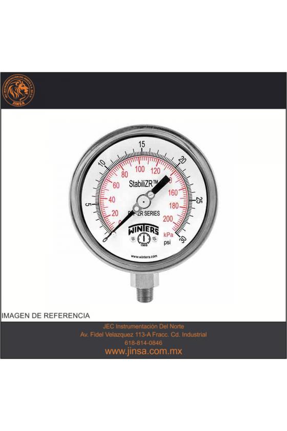 "PFQ811ZRR1R3 MANOMETRO PUNTERO ESTABILIZADOR CARATULA DE 2.5"" CONEXION INFERIOR 1/4"" NPT 0-3000 PSI / 0-210 KG/CM"