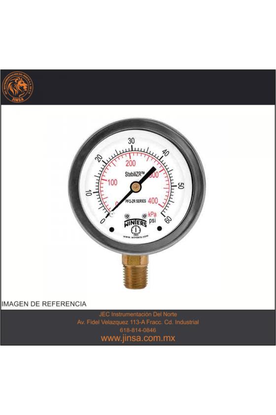 "PFQ915ZRR1R3 MANOMETRO PUNTERO ESTABILIZADOR CARATULA DE 2.5"" CONEXION POSTERIOR 1/4"" NPT 0-6000 PSI / 0-400 KG/CM"