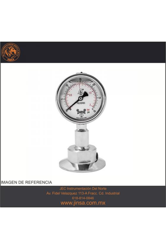 PSQ15802 Manometro calidad sanitario con glicerina  de 2.5 x 1.5 conex inf 0 - 30 psi
