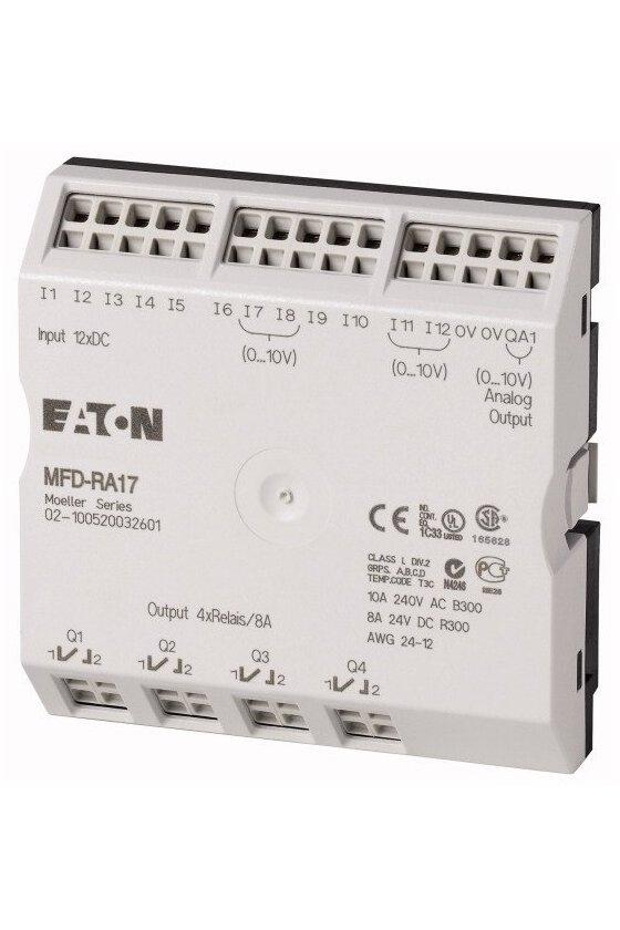 265364 Módulo de E / S, 24 V CC, para MFD-CP8 / CP10, 12DI (4AI), relés 4DO, 1AO - MFD-RA17